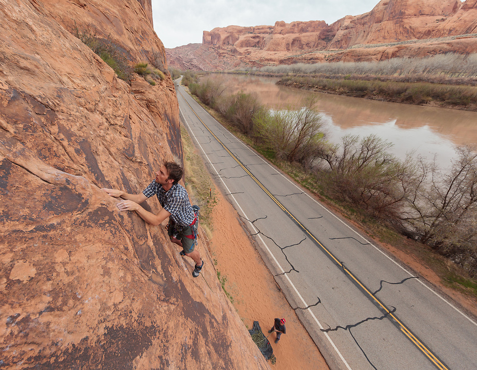 Pat Lindsay climbing at Wallstreet in Moab, UT