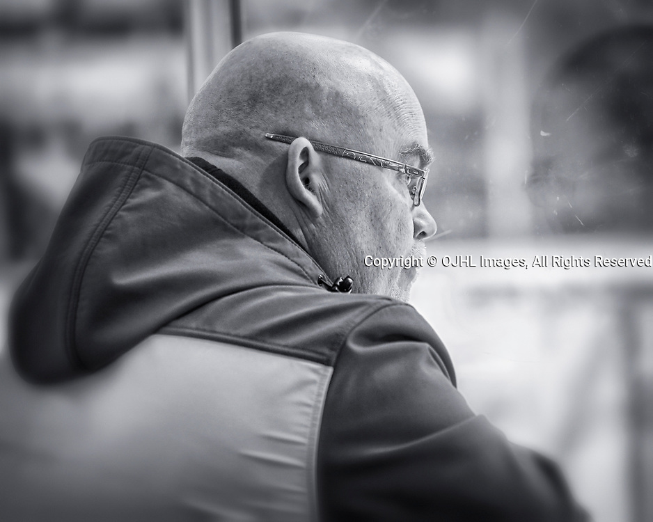 TRENTON, ON  - MAY 4,  2017: Canadian Junior Hockey League, Central Canadian Jr. &quot;A&quot; Championship. The Dudley Hewitt Cup. Around The Dudley Georgetown Raiders Bus Driver <br /> (Photo by Amy Deroche / OJHL Images)
