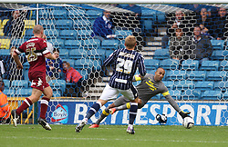 Millwall's Martyn Waghorn scores his first goal for his new side  - Photo mandatory by-line: Robin White/JMP - Tel: Mobile: 07966 386802 14/09/2013 - SPORT - FOOTBALL -  The Den - London - Millwall V Derby County - Sky Bet League Championship