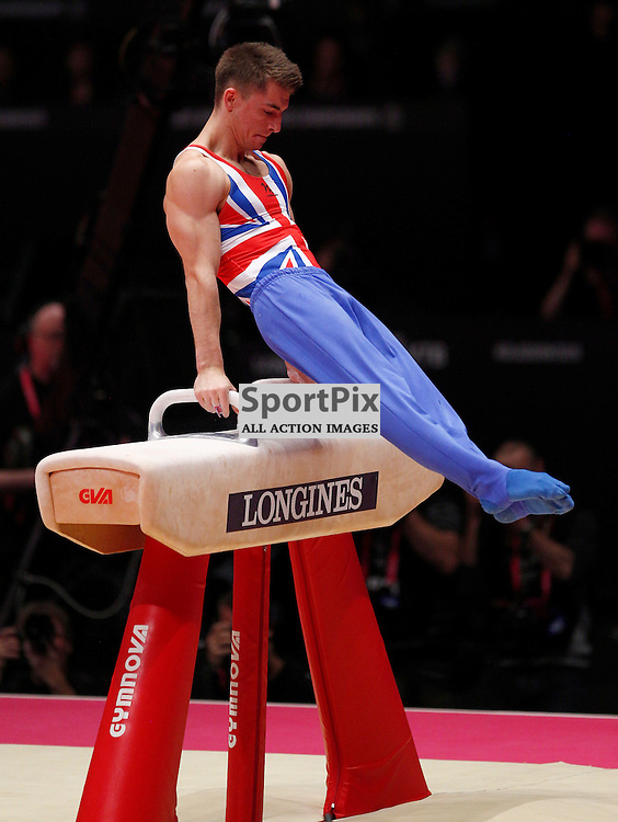 2015 Artistic Gymnastics World Championships being held in Glasgow from 23rd October to 1st November 2015.....Great Britain's Max Whitlock performs on the Pommel Horse on Day 1 of the Women's & Men's Apparatus Final...(c) STEPHEN LAWSON | SportPix.org.uk