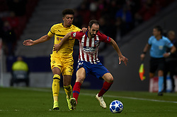November 6, 2018 - Madrid, Spain - Juanfran of Atletico Madrid and Jadon Sancho of Borussia Dortmund battle for the ball during the Group A match of the UEFA Champions League between AtleticoLucien Favre of Borussia Dortmund Madrid and Borussia Dortmund at Wanda Metropolitano Stadium, Madrid on November 07 of 2018. (Credit Image: © Jose Breton/NurPhoto via ZUMA Press)