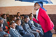 Children from Matsie Steyn primary school, Sharpeville, enjoy the show 'About Us - Stepping Up' performed by AREPP theatre for life.