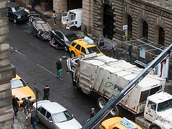 """Filming of a crash scene on the third day of the movie """"World War Z"""" being shot in the city centre of Glasgow. The film, which is set in Philadelphia, is being shot in various parts of Glasgow, transforming it to shoot the post apocalyptic zombie film."""