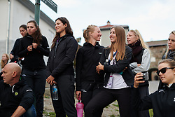 Alexis Ryan (USA) watches the cannon demonstration at Ladies Tour of Norway Team Presentation 2018, in Halden, Norway on August 15, 2018. Photo by Sean Robinson/velofocus.com
