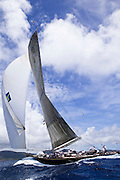 Velsheda, J Class, sailing in the Butterfly Race, the second race of the Antigua Classic Yacht Regatta.