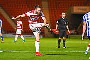 Doncaster Rovers midfielder Ben Whiteman (8) takes a shot during the EFL Sky Bet League 1 match between Doncaster Rovers and Blackpool at the Keepmoat Stadium, Doncaster, England on 17 September 2019.