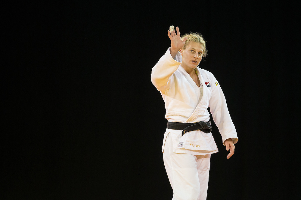 Kayla Harrison of the United States celebrates after defeating Mayra Aguiar of Brazil to win the gold medal in the women's judo -78kg class at the 2015 Pan American Games in Toronto, Canada, July 14,  2015.  AFP PHOTO/GEOFF ROBINS