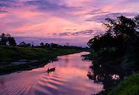 LORETO, PERU - CIRCA OCTOBER 2015:  Sunrise in the Peruvian Amazon.