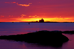 Sunrise. Reflections. Mouth of the Piscataqua River in November.  New Castle, NH