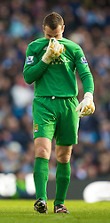 MANCHESTER, ENGLAND - Sunday, January 31, 2010: Manchester City's goalkeeper Shay Given during the Premiership match against Portsmouth at the City of Manchester Stadium. (Photo by David Rawcliffe/Propaganda)