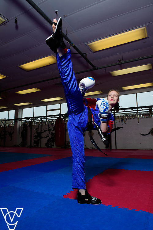 POOBI provides funding for Royal Mail colleagues and their families through the Rising Stars scheme for sports.  17-year-old Nesta Baxter is a Team GB kick boxer, and the daughter of postman Nigel.  He has received a POOBI bursary to help Nesta.<br /> <br /> Picture: Chris Vaughan Photography<br /> Date: June 28, 2017