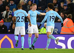 Kevin De Bruyne of Manchester City celebrates with Leroy Sane of Manchester City - Mandatory by-line: Alex James/JMP - 18/11/2017 - FOOTBALL - King Power Stadium - Leicester, England - Leicester City v Manchester City - Premier League