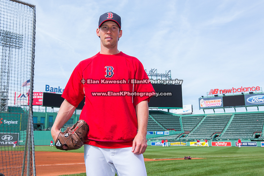 Craig Breslow #32 of the Boston Red Sox poses for a photo during Fenway Park's Jewish Heritage Night at the game between the Atlanta Braves and the Boston Red Sox at Fenway Park on May 29, 2014 in Boston, Massachusetts. (Photo by Elan Kawesch)