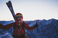 Caroline Gleich on the wintery east ridge of Mt Superior in the early morning twilight, Wasatch Mountains. Temperatures were subzero.