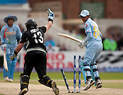 Harmanpreet Kaur is bowled first ball by Sian Ruck during the ICC Women's World Twenty20 Cup semi-final between New Zealand and India at Trent Bridge. Photo © Graham Morris (Tel: +44(0)20 8969 4192 Email: sales@cricketpix.com)