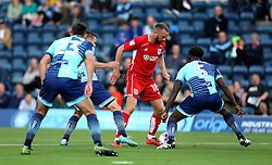 Aaron Wilbraham of Bristol City takes on Anthony Stewart of Wycombe Wanderers - Mandatory by-line: Robbie Stephenson/JMP - 09/08/2016 - FOOTBALL - Adams Park - High Wycombe, England - Wycombe Wanderers v Bristol City - EFL League Cup