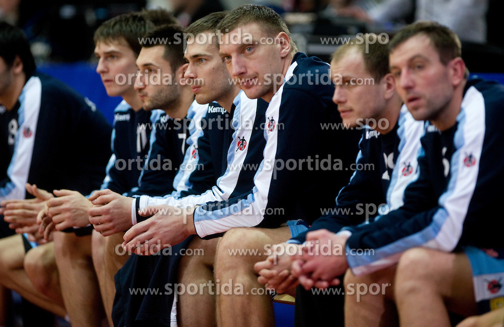 Sebastian Skube of Slovenia, Dragan Gajic of Slovenia, Jure Natek of Slovenia and Miladin Kozlina  of Slovenia during the Men's Handball European Championship Group C match between Slovenia and Poland at the Olympia Hall on January 22, 2009 in Innsbruck, Austria. Slovenia vs. Poland had draw 30:30. (Photo by Vid Ponikvar / Sportida) - on January 2010