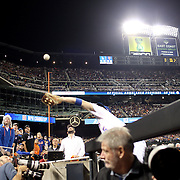David Wright, New York Mets, makes a catch over the photographers pit during the New York Mets Vs Los Angeles Dodgers, game four of the NL Division Series at Citi Field, Queens, New York. USA. 13th October 2015. Photo Tim Clayton