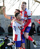 Football - 1919 / 2020  Dorking Wanderers v Fylde FA Trophy R3<br /> <br /> James Mcshane (11) celebrates his first half goal with Jimmy Muitt (left) and Niell McManus of Dorking<br /> <br /> <br /> Credit : Colorsport / Andrew Cowie