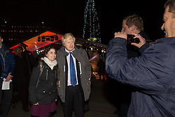 © Licensed to London News Pictures. 16/12/2014. London, UK. Boris Johnson poses for a photograph at the lighting of a Menorah, Chanukah Ceremony in Trafalgar Square, London to celebrate Chanukah (Hanukkah), the eight-day Jewish Festival of Lights. Photo credit : Vickie Flores/LNP