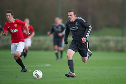 MANCHESTER, ENGLAND - Friday, November 25, 2011: Liverpool's Brad Smith in action against Manchester United during the FA Premier League Academy match at the Carrington Training Ground. (Pic by David Rawcliffe/Propaganda)