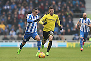 Brighton & Hove Albion winger Anthony Knockaert (11) chased by Burton Albion midfielder Michael Kightly (28) during the EFL Sky Bet Championship match between Brighton and Hove Albion and Burton Albion at the American Express Community Stadium, Brighton and Hove, England on 11 February 2017.