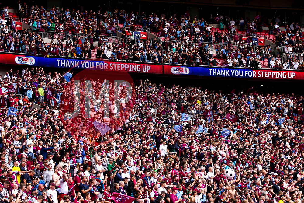 Aston Villa fans celebrate winning promotion from the Sky Bet Championship to the Premier League after winning the Sky Bet Playoff Final - Mandatory by-line: Robbie Stephenson/JMP - 27/05/2019 - FOOTBALL - Wembley Stadium - London, England - Aston Villa v Derby County - Sky Bet Championship Play-off Final