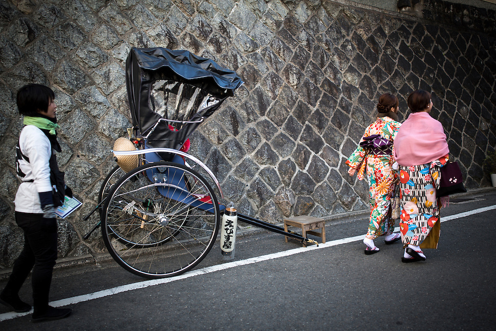 KYOTO , JAPAN - JANUARY 10 : A woman dress in Kimono walks in the street of Kiyomizu-dera, Kyoto prefecture, Japan on Sunday, January 10, 2016.  Photo: Richard Atrero de Guzman