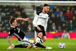 Richard Keogh of Derby County is fouled by Stefan Johansen of Fulham- Mandatory by-line: Robbie Stephenson/JMP - 11/05/2018 - FOOTBALL - Pride Park Stadium - Derby, England - Derby County v Fulham - Sky Bet Championship