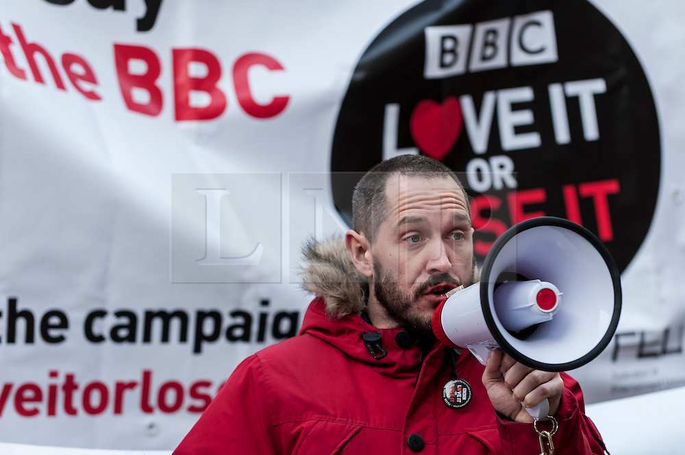 """© Licensed to London News Pictures. 23/11/2015. LONDON, UK. Actor, Bertie Carvel, addresses fans of Doctor Who known as """"Whovians"""" and other supporters of the BBC gathered outside Broadcasting House in central London to oppose the threat of 20% government cuts to the Corporation which has brought shows such as Dr Who since 1922. Photo credit : Stephen Chung/LNP"""
