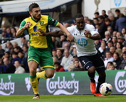 Norwich's Robert Snodgrass and Tottenham's Danny Rose compete for the ball  - Photo mandatory by-line: Mitchell Gunn/JMP - Tel: Mobile: 07966 386802 14/09/2013 - SPORT - FOOTBALL -  White Hart Lane - London - Tottenham Hotspur v Norwich - Barclays Premier League