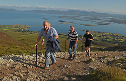 Early Pilgrims on their way up Croagh Patrick during the Reek Sunday pilgrimage.<br /> Photo Conor McKeown