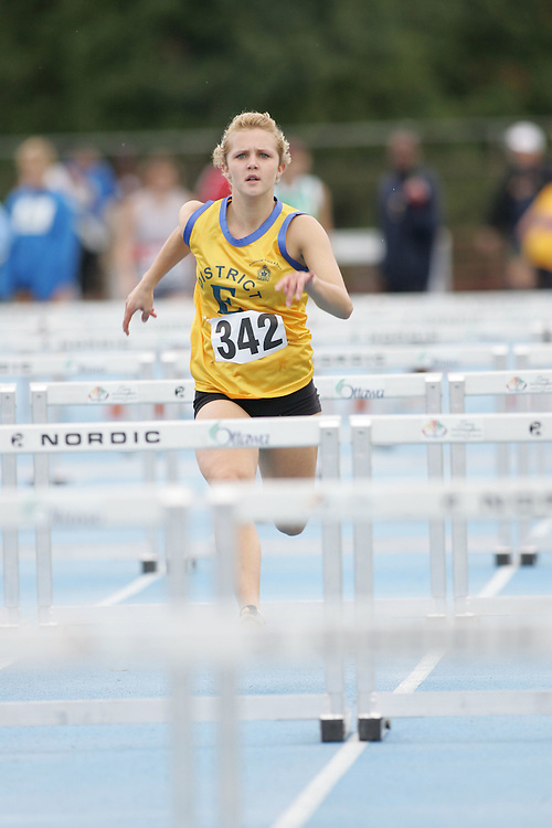 Chelsea Jacklin competing in the sprint hurdles at the 2007 Ontario Legion Track and Field Championships. The event was held in Ottawa on July 20 and 21.