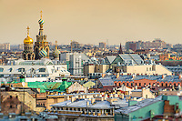 View of Saint Petersburg skyline and Church of the Savior on Blood domes from from Saint Isaac's Cathedral