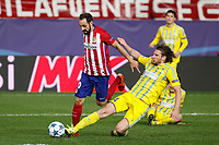 Atletico de Madrid´s Juanfran (L) and Astana´s Dedechko during Champions League soccer match between Atletico de Madrid and FC Astana at Vicente Calderon stadium in Madrid, Spain. October 21, 2015. (ALTERPHOTOS/Victor Blanco)