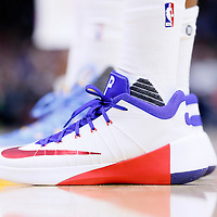 02 October 2015: Close view of Los Angeles Clippers forward Paul Pierce (34) Nike Hyperdunk 2015 low PE shoes during the Los Angeles Clippers 103-96 victory over the Denver Nuggets, in a preseason game, at the Staples Center, Los Angeles, California, USA.