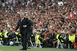 13.05.2015, Estadio Santiago Bernabeu, Madrid, ESP, UEFA CL, Real Madrid vs Juventus Turin, Halbfinale, Rückspiel, im Bild Real Madrid´s coach Carlo Ancelotti // during the UEFA Champions League semi finals 2nd Leg match between Real Madrid CF and Juventus FC at the Estadio Santiago Bernabeu in Madrid, Spain on 2015/05/13. EXPA Pictures © 2015, PhotoCredit: EXPA/ Alterphotos/ Victor Blanco<br /> <br /> *****ATTENTION - OUT of ESP, SUI*****