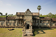 19 MARCH 2006 - SIEM REAP, SIEM REAP, CAMBODIA: The north wall of the main Angkor Wat complex near Siem Reap, Cambodia. Cambodian authorities estimate that more than one million tourists will visit Angkor Wat in 2006, making it the leading tourist attraction in Cambodia by a large margin.   Photo by Jack Kurtz / ZUMA Press