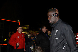 Liverpool's Mamadou Sakho arrives at AFC Wimbledon's ground - Photo mandatory by-line: Dougie Allward/JMP - Mobile: 07966 386802 - 05/01/2015 - SPORT - football - London - Cherry Red Records Stadium - AFC Wimbledon v Liverpool - FA Cup - Third Round