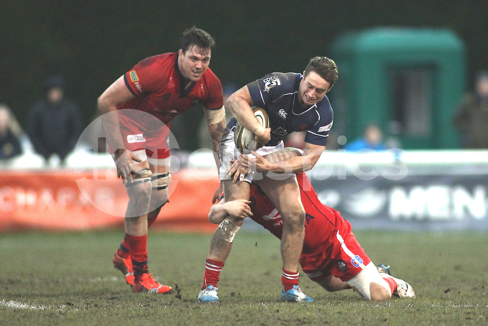 Miles Mantella of London Scottish in action during the Green King IPA Championship match between London Scottish &amp; Bristol at Richmond, Greater London on 7th February 2015<br /> <br /> Photo: Ken Sparks | UK Sports Pics Ltd<br /> London Scottish v Bristol, Green King IPA Championship, 7th February 2015<br /> <br /> &copy; UK Sports Pics Ltd. FA Accredited. Football League Licence No:  FL14/15/P5700.Football Conference Licence No: PCONF 051/14 Tel +44(0)7968 045353. email ken@uksportspics.co.uk, 7 Leslie Park Road, East Croydon, Surrey CR0 6TN. Credit UK Sports Pics Ltd