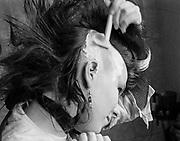 Chigwell Punk Shaving Head, Chigwell, London, UK, 1980s.