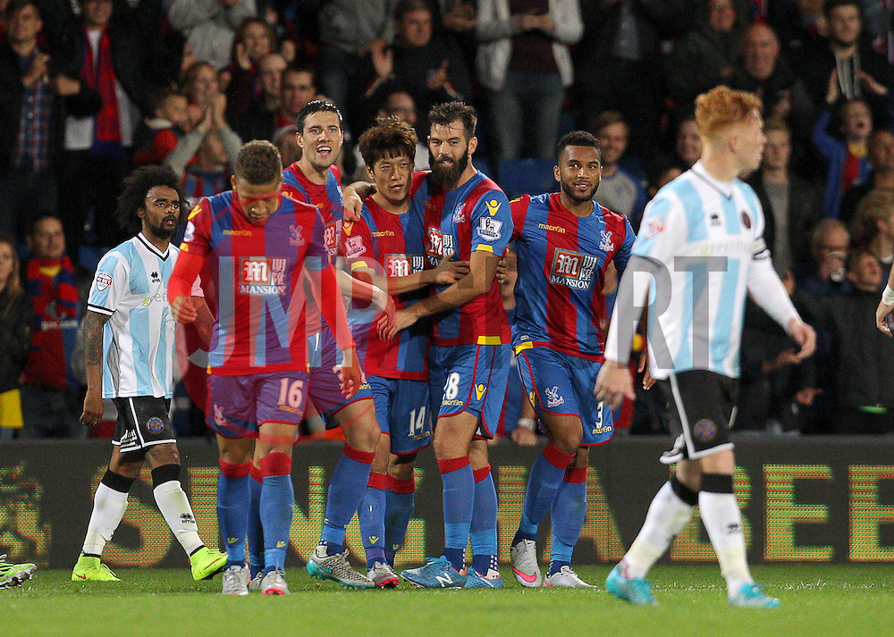 Lee Chung-Yong ( 4th L ) of Crystal Palace celebrates with team mates after scoring to make it 3-1 - Mandatory byline: Paul Terry/JMP - 07966386802 - 25/08/2015 - FOOTBALL - Selhurst Park -London,England - Crystal Palace v Shrewsbury town - Capital One Cup - Second Round
