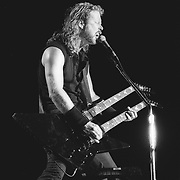James Hetfield, singer and guitar player of the band Metallica performs at The Spectrum in Philadelphia, Pennsylvania on April 7th, 1992.