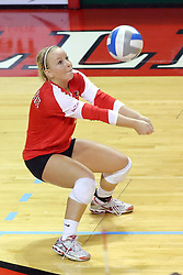 09 October 2009: Kasey Mollerus crouches for a dig. The Redbirds of Illinois State defeated the Braves of Bradley in 3 sets during play in the Redbird Classic on Doug Collins Court inside Redbird Arena in Normal Illinois