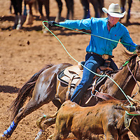 Wyatt Lacey competes as a header for Sam Garside during the Red Rock Classic team roping competition at Red Rock Park in Church Rock. The duo won the 15 handicap of the Classic.