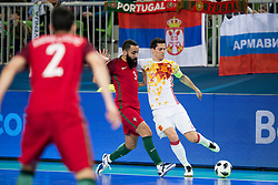 Tunha of Portugal and Ortiz of Spain during futsal match between Portugal and Spain in Final match of UEFA Futsal EURO 2018, on February 10, 2018 in Arena Stozice, Ljubljana, Slovenia. Photo by Urban Urbanc / Sportida