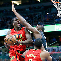 25 February 2017: Orlando Magic center Bismack Biyombo (11) defends on Atlanta Hawks forward Taurean Prince (12) during the Orlando Magic 105-86 victory over the Atlanta Hawks, at the Amway Center, Orlando, Florida, USA.