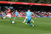 Luke Varney shoots  during the EFL Sky Bet League 2 match between Salford City and Cheltenham Town at Moor Lane, Salford, United Kingdom on 14 September 2019.