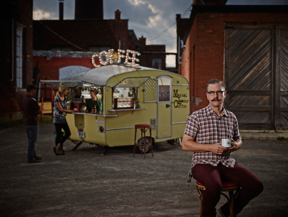 The owner and operator of a mobile Coffee Shop on 270 sherman hamilton Shot on a PhaseOne IQ180 as a Environmental Portrait.
