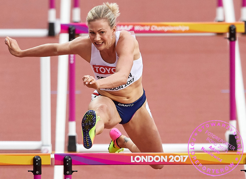 Great Britain, London - 2017 August 11: Isabelle Pedersen from Norway competes in women&rsquo;s 100 meters hurdles semi final during IAAF World Championships London 2017 Day 8 at London Stadium on August 11, 2017 in London, Great Britain.<br /> <br /> Mandatory credit:<br /> Photo by &copy; Adam Nurkiewicz<br /> <br /> Adam Nurkiewicz declares that he has no rights to the image of people at the photographs of his authorship.<br /> <br /> Picture also available in RAW (NEF) or TIFF format on special request.<br /> <br /> Any editorial, commercial or promotional use requires written permission from the author of image.